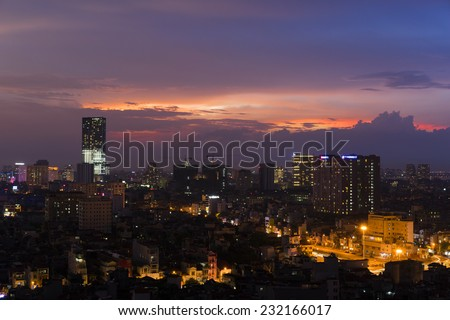 Aerial view of Hanoi skyline at sunset time