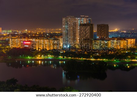 Aerial view of Hanoi skyline cityscape at night