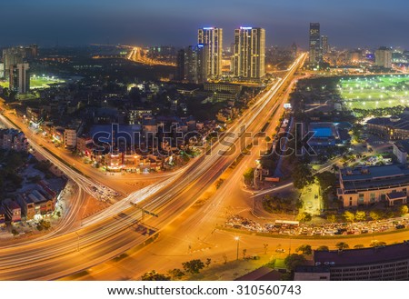 Aerial view of Hanoi skyline cityscape at night. Le Van Luong - Khuat Duy Tien intersection , Cau Giay district