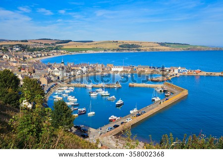 Aerial view of harbour at Stonehaven bay, Aberdeenshire, Scotland, UK - stock photo