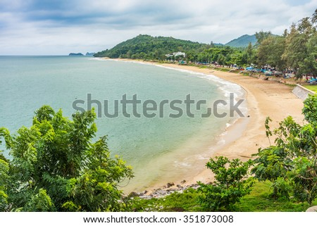 Aerial view of  Hat Sai Ri beach. It is the large curved beach in Chumphon province, Thailand. - stock photo