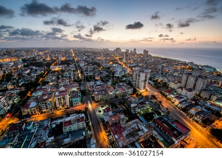 Aerial view of Havana (Habana) with a coast ocean in the evening time - stock photo