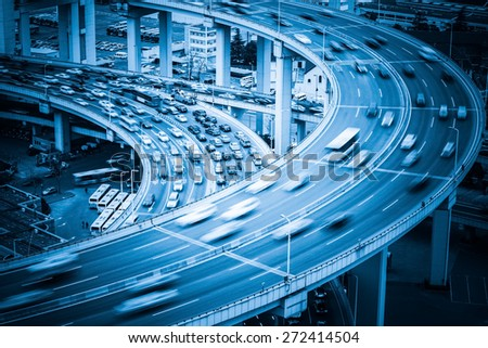 aerial view of heavy traffic on the bridge approach  - stock photo