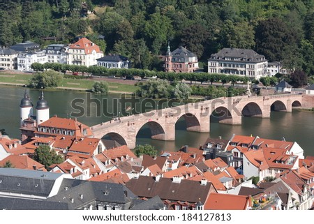 Aerial view of Heidelberg, Germany. City and Alte Br�¼cke over river Neckar. Shot from Heidelberg Castle.