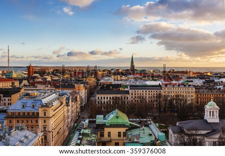 Aerial view of Helsinki, capital of Finland - stock photo
