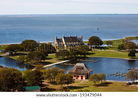 Aerial view of Heritage Park in corolla, North Carolina which includes the historic Whalehead Club. - stock photo