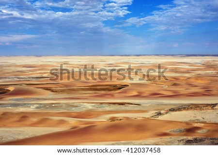 Aerial view of high sand dunes, located in the Namib Desert, Namibia, Africa - stock photo