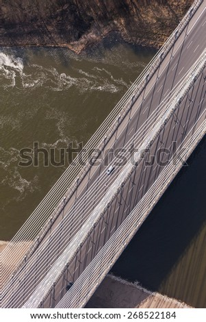 aerial view of highway bridge in  Wroclaw city in Poland