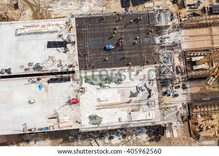 Aerial view of highway bridge under construction in Poland - stock photo