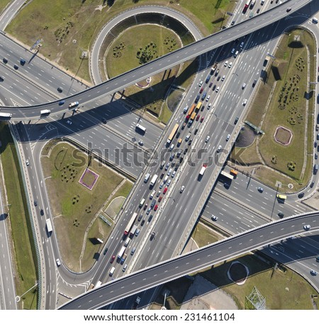 Aerial view of highway interchange of a city - stock photo