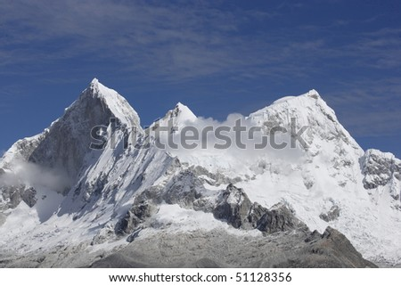 Aerial view of Himalayan mountains in Nepal