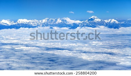 Aerial view of himalayas range - Dhaulagiri Himal â?? Nepal - stock photo