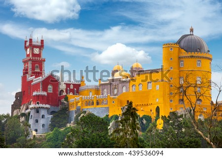 Aerial view of historic Palace of  Pena and blue sky - Sintra, Lisboa, Portugal, Europe - stock photo