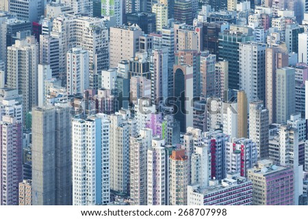 Aerial view of Hong Kong City - stock photo