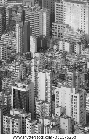 Aerial view of Hong Kong City in black and white - stock photo