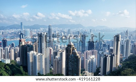 Aerial View of Hong Kong from the Peak - stock photo