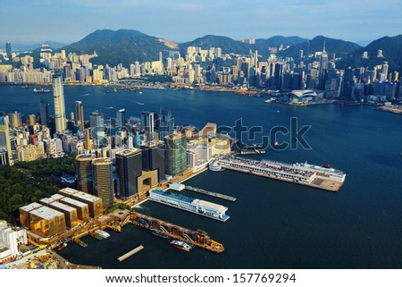 Aerial view of Hong Kong harbor from Kowloon island  - stock photo