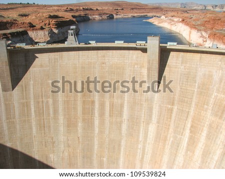 Aerial view of Hoover Dam and the Colorado River Bridge - USA - stock photo