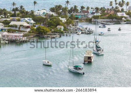 Aerial view of Hopetown in the Abacos Islands, Bahamas - stock photo