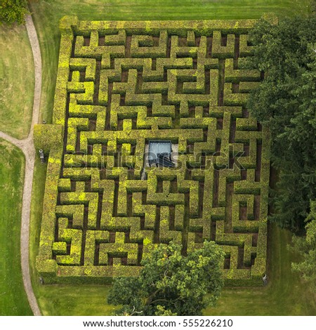 Aerial View Horta Labyrinth Gardens Royal Stock Photo (Safe to Use on