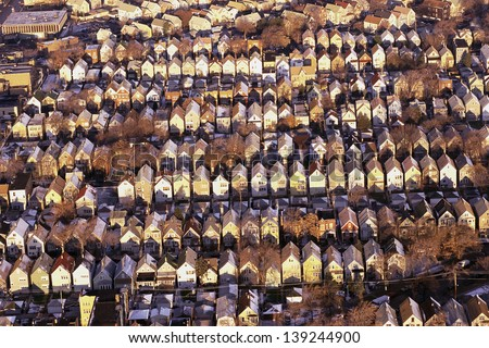 Aerial view of houses in a suburb in Chicago, IL - stock photo