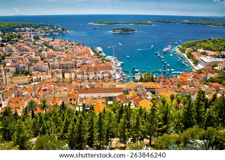 Aerial view of Hvar rooftops and harbor, Dalmatia, Croatia