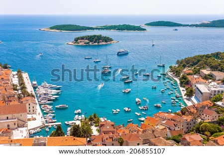 Aerial view of Hvar's harbor. Hvar is one of the most popular tourist destination of Croatia.
