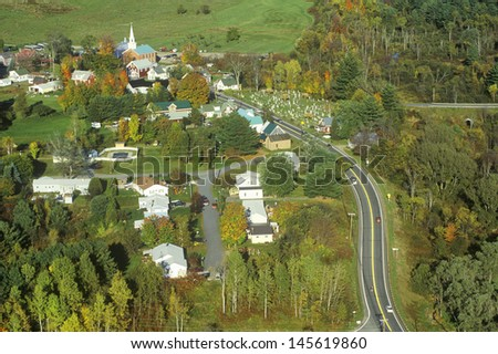 Aerial view of Hyde Park, VT on Scenic Route 100 in Autumn - stock photo