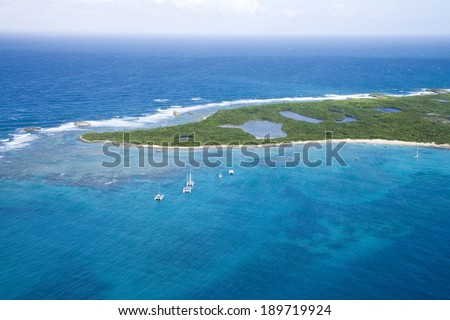 Aerial view of Icacos Island North of Puerto Rico. - stock photo