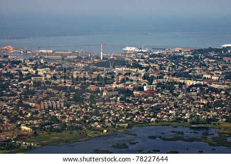 Aerial view of industrial area by the sea, city Liepaja.