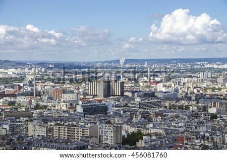 Aerial view of industrial part in Paris, day panorama from the rooftop of Paris, France - stock photo