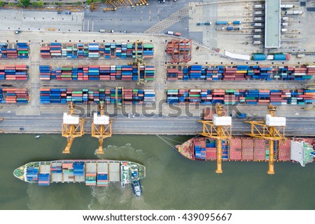 Aerial view of Industrial shipping port in Thailand.