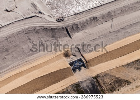 aerial view of  Industrial waste reservoir near Polkowice city in Poland