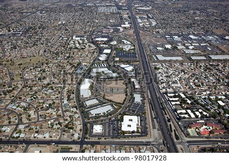 Aerial view of Interstate 17 in North Phoenix, Arizona and adjacent business and homes