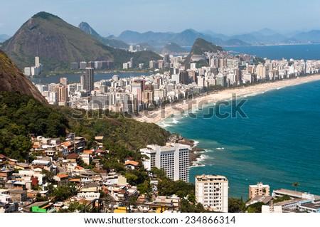Aerial view of Ipanema and Leblon Beach and Vidigal Favela, Rio de Janeiro, Brazil - stock photo