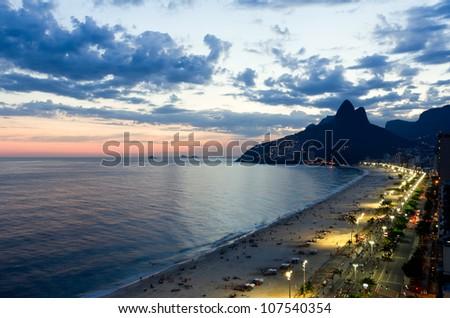 Aerial view of Ipanema Beach in Rio De Janeiro - stock photo