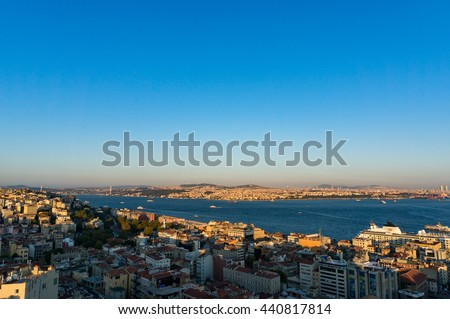 Aerial view of Istanbul, Turkey. Modern transcontinental megalopolis cityscape at golden hour - stock photo
