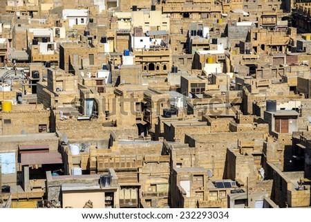 Aerial view of Jaisalmer city neighborhood, Jaisalmer, India. - stock photo