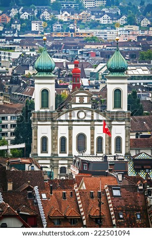 Aerial view of Jesuit church (Jesuitenkirche) in Lucerne, Switzerland - stock photo