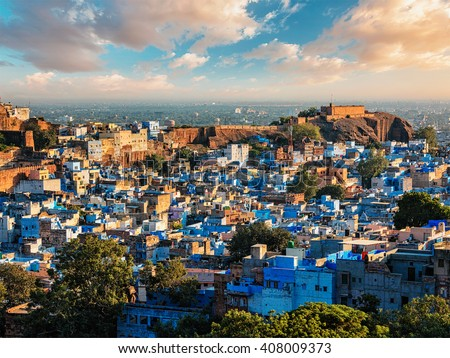 "Aerial view of Jodhpur, also known as ""Blue City"" due to the vivid blue-painted Brahmin houses around Mehrangarh Fort. Jodphur, Rajasthan, India"