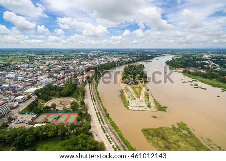 Aerial view of Kamphaeng Phet city in Thailand