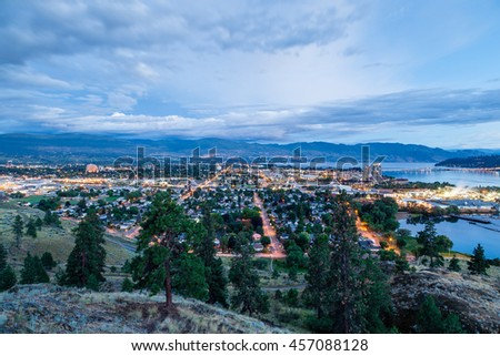 Aerial View of Kelowna, British Columbia, just after sunset on Knox Mountain, Canada. - stock photo
