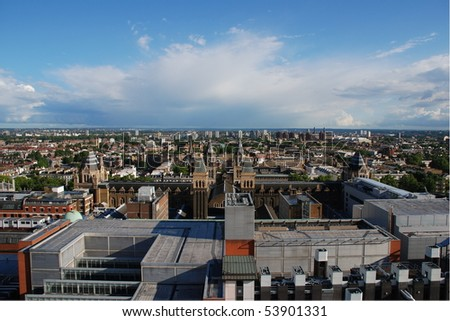 Aerial view of Kensington, London with the Natural History Museum in the foreground - stock photo