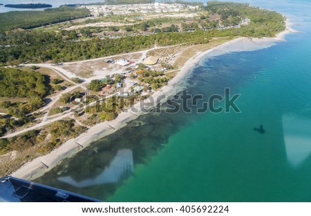 Aerial view of Key Biscayne National Park and the beach - stock photo