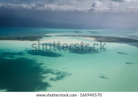 Aerial view of Key or Caye Caulker on the barrier reef off the coast of Belize in the Caribbean
