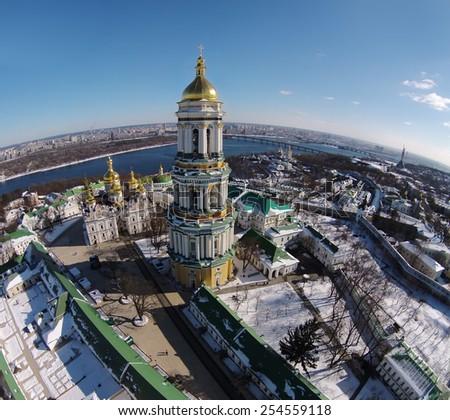 aerial view of Kiev-Pechersk Lavra at winter - stock photo