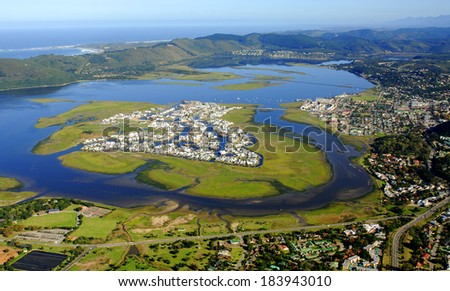 Aerial view of Knysna in the Garden Route, South Africa - stock photo