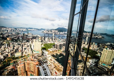 Aerial view of Kowloon island in vintage style, Hong Kong - stock photo