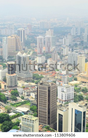 Aerial view of Kuala Lumpur from KL Tower
