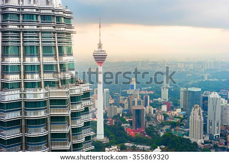 Aerial view of Kuala Lumpur, Malaysia - stock photo